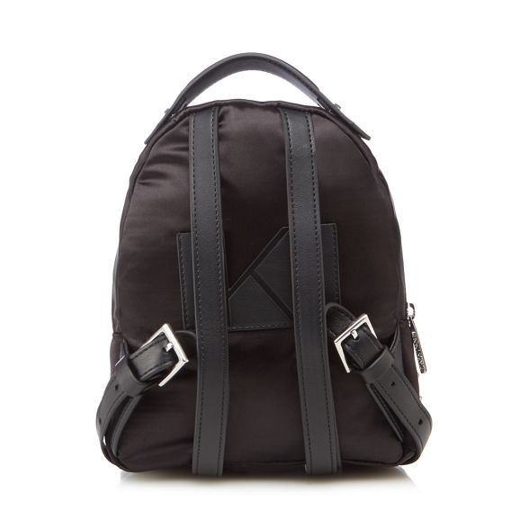 KENDALL mini Black satin backpack 'Sloane' KYLIE rSRwqxIrH