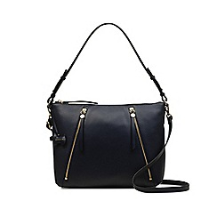 Radley - Navy Blue Leather 'Fountain Road' Medium Zip-Top Shoulder Bag