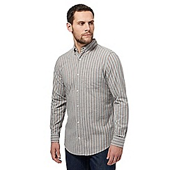 Maine New England - Big and tall grey stripe tailored fit oxford shirt