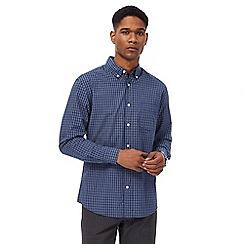 Maine New England - Big and tall navy mini check long sleeve shirt