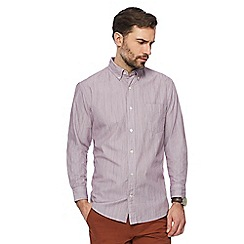 Maine New England - Wine red hairline stripe shirt