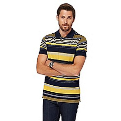 Maine New England - Big and tall navy and yellow striped tailored fit polo shirt