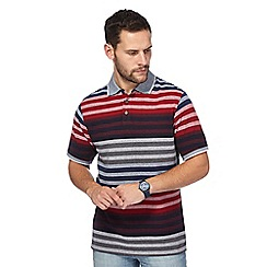 Maine New England - Big and tall dark red stripe polo shirt