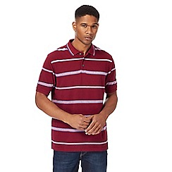 Maine New England - Big and tall dark red striped polo shirt