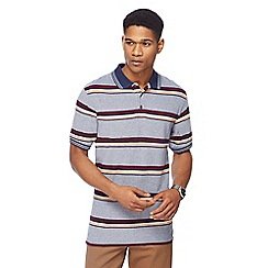 Maine New England - Mid blue Cardiff stripe polo shirt