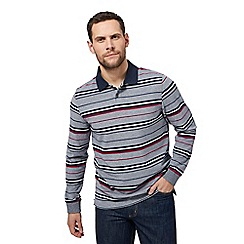 Maine New England - Plum Hopton stripe long sleeve polo shirt