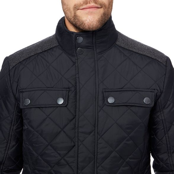jacket quilted Maine New herringbone England insert Black 6Y7q40w