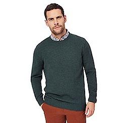 Maine New England - Big and tall dark green twist knit crew neck jumper