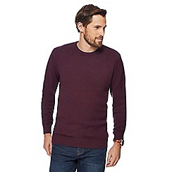 Maine New England - Big and tall maroon twist knit crew neck jumper