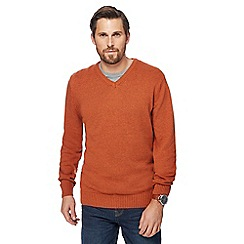 Maine New England - Big and tall dark orange marl V-neck jumper