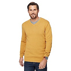 Maine New England - Big and tall yellow marl V-neck jumper