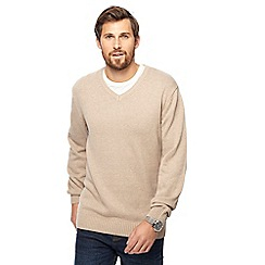 Maine New England - Natural marl V-neck jumper