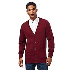 Maine New England - Big and tall maroon knitted cardigan