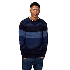 Maine New England - Big and tall blue feeder stripe crew neck jumper