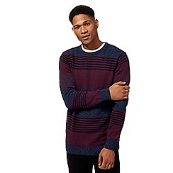 Maine New England - Big and tall maroon twist knit striped crew neck jumper