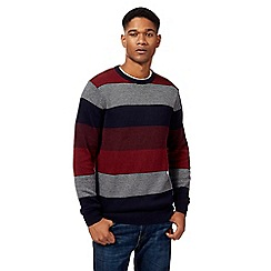 Maine New England - Big and tall red feeder stripe crew neck jumper