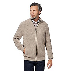 Maine New England - Beige chunky knit zip through sweater