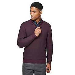 Maine New England - Plum links knitted zip neck jumper