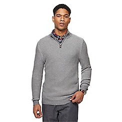 Maine New England - Grey links knitted zip neck jumper