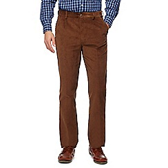 Maine New England - Dark tan corduroy tailored fit trousers