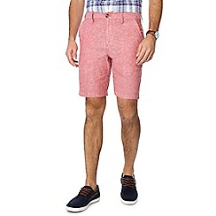 Maine New England - Big and tall red linen blend oxford chino shorts