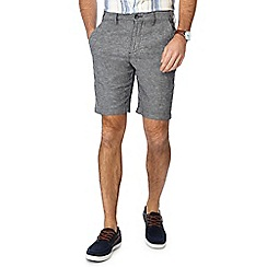 Maine New England - Black linen blend Oxford chino shorts