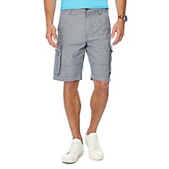 Maine New England - Big and tall light blue puppytooth linen blend cargo shorts