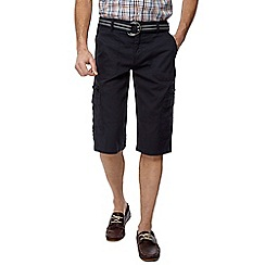 Maine New England - Big and tall navy belted cargo shorts