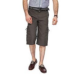 Maine New England - Dark grey belted cargo shorts