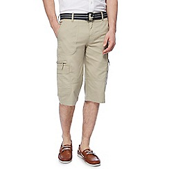 Debenhams Maine New England Big and Tall Beige Belted Cargo Shorts B0793T8RRS