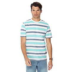 Maine New England - Big and tall aqua pique textured stripe t-shirt