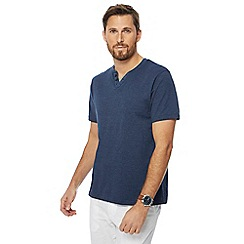 Maine New England - Big and tall navy stripe print notch neck t-shirt