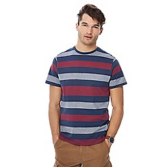 Maine New England - Big and tall grey block striped t-shirt