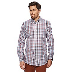 Maine New England - Red Dobby grid checked tailored fit shirt