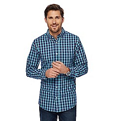 Maine New England - Big and tall aqua long sleeve checked print tailored fit shirt