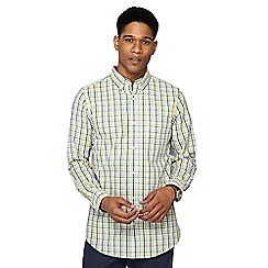 Maine New England - Big and tall yellow grid print tailored fit shirt