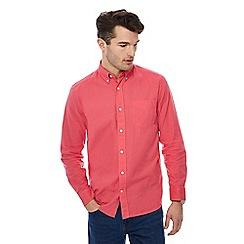 Maine New England - Big and tall pink long sleeve linen blend shirt