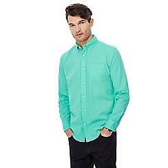 Maine New England - Big and tall green long sleeve linen blend shirt