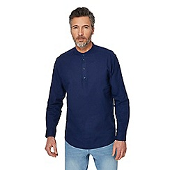 Maine New England - Big and tall navy linen blend grandad top