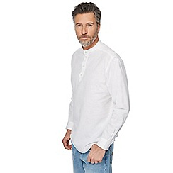 Maine New England - White linen blend grandad top