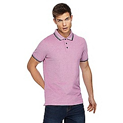 Maine New England - Big and tall dark pink textured tipped tailored fit polo shirt
