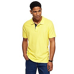 Maine New England - Big and tall yellow contrast placket polo shirt