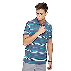 Maine New England - Big and tall grey striped polo shirt