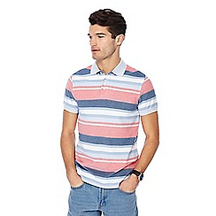 Maine New England - Big and tall peach Chicago stripe print polo shirt
