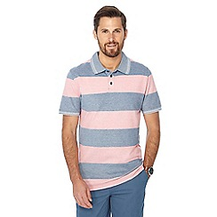 Maine New England - Pink textured block striped polo shirt