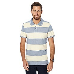 Maine New England - Big and tall yellow textured block striped polo shirt