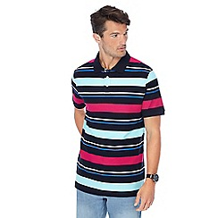 Maine New England - Dark pink stripe print polo shirt