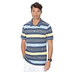 Maine New England - Grey stripe print polo shirt