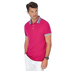 Maine New England - Dark pink tipped collar tailored fit polo shirt
