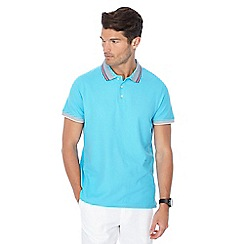 Maine New England - Big and tall light turquoise tipped collar tailored fit polo shirt